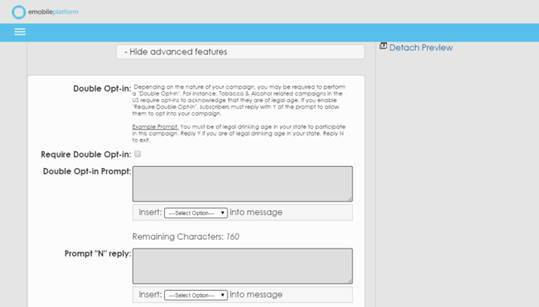 Advanced features for an SMS Campaign