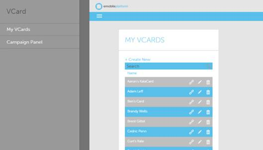 AvidMobile's application managing many virtual business cards