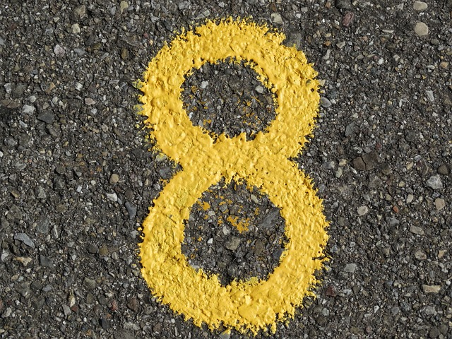 "A picture of the number eight painted on asphalt representing the ""8 mistakes SMS White Label Resellers Should Avoid"""
