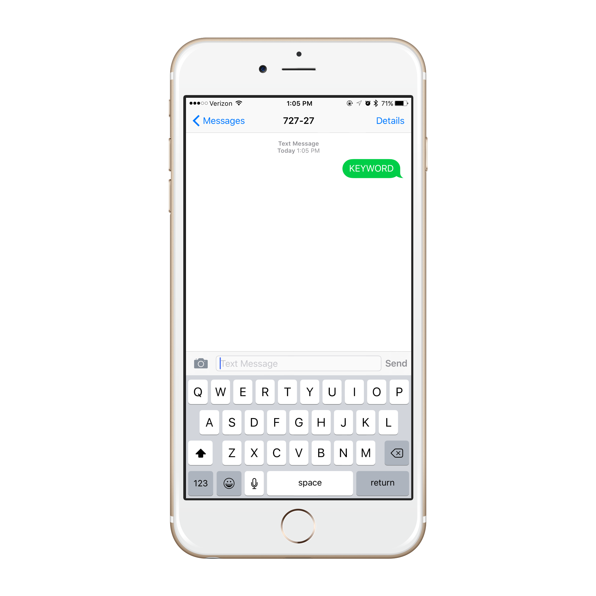 iphone with an SMS Keyword entered on the screen