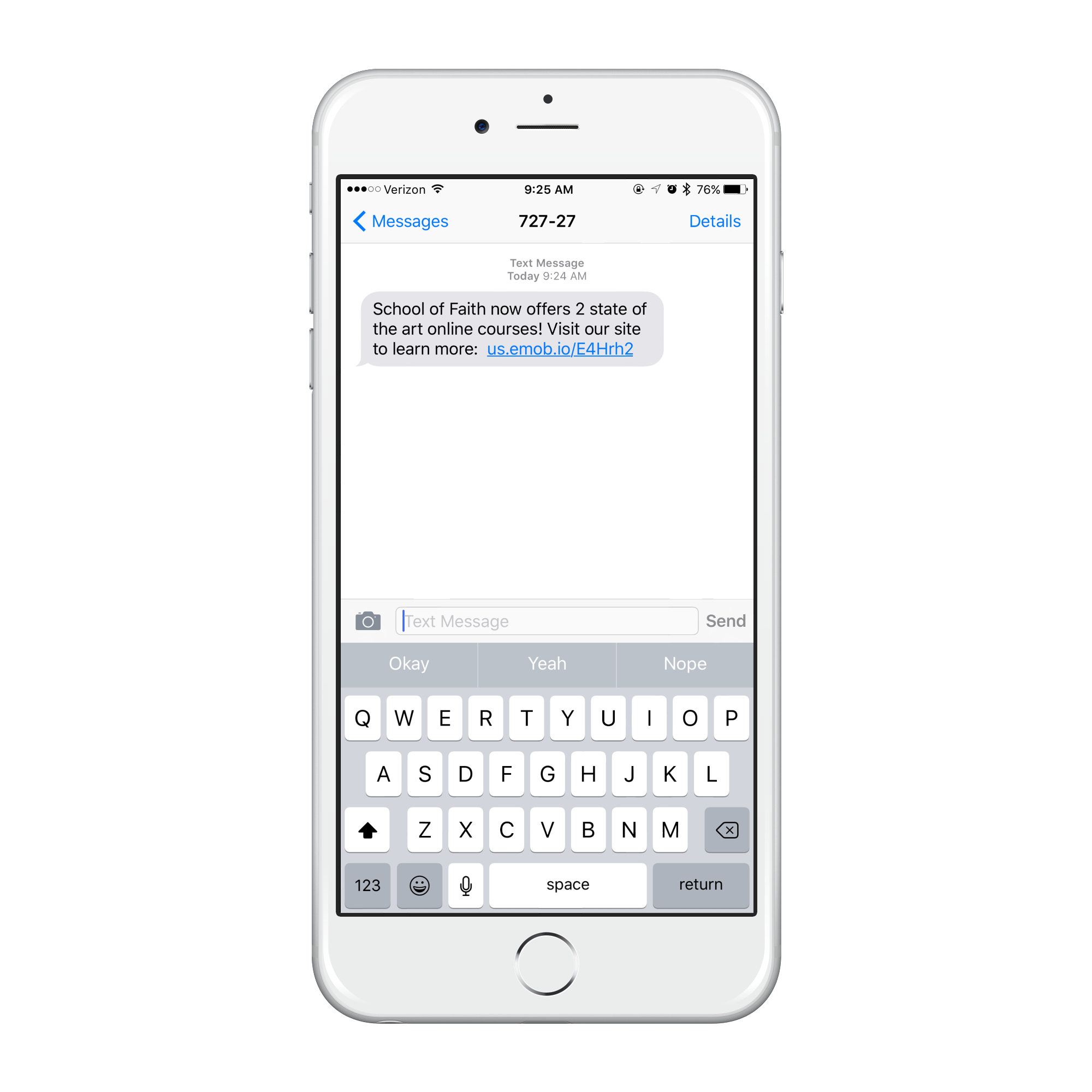iPhone showing how a church could use Text Message Marketing to communicate with their members using a text message.
