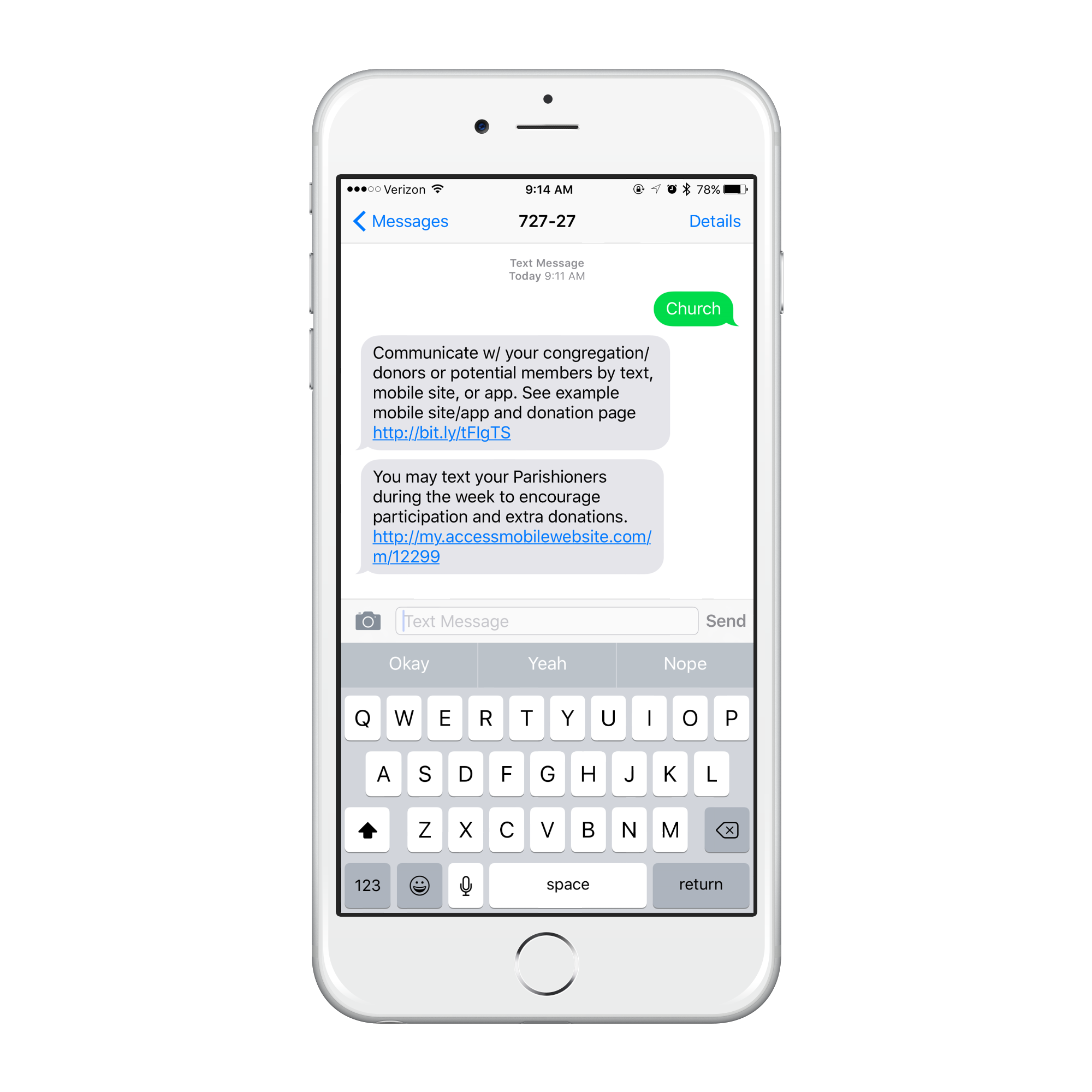 iPhone showing how a church member would opt into the church's Text Message Marketing programs.