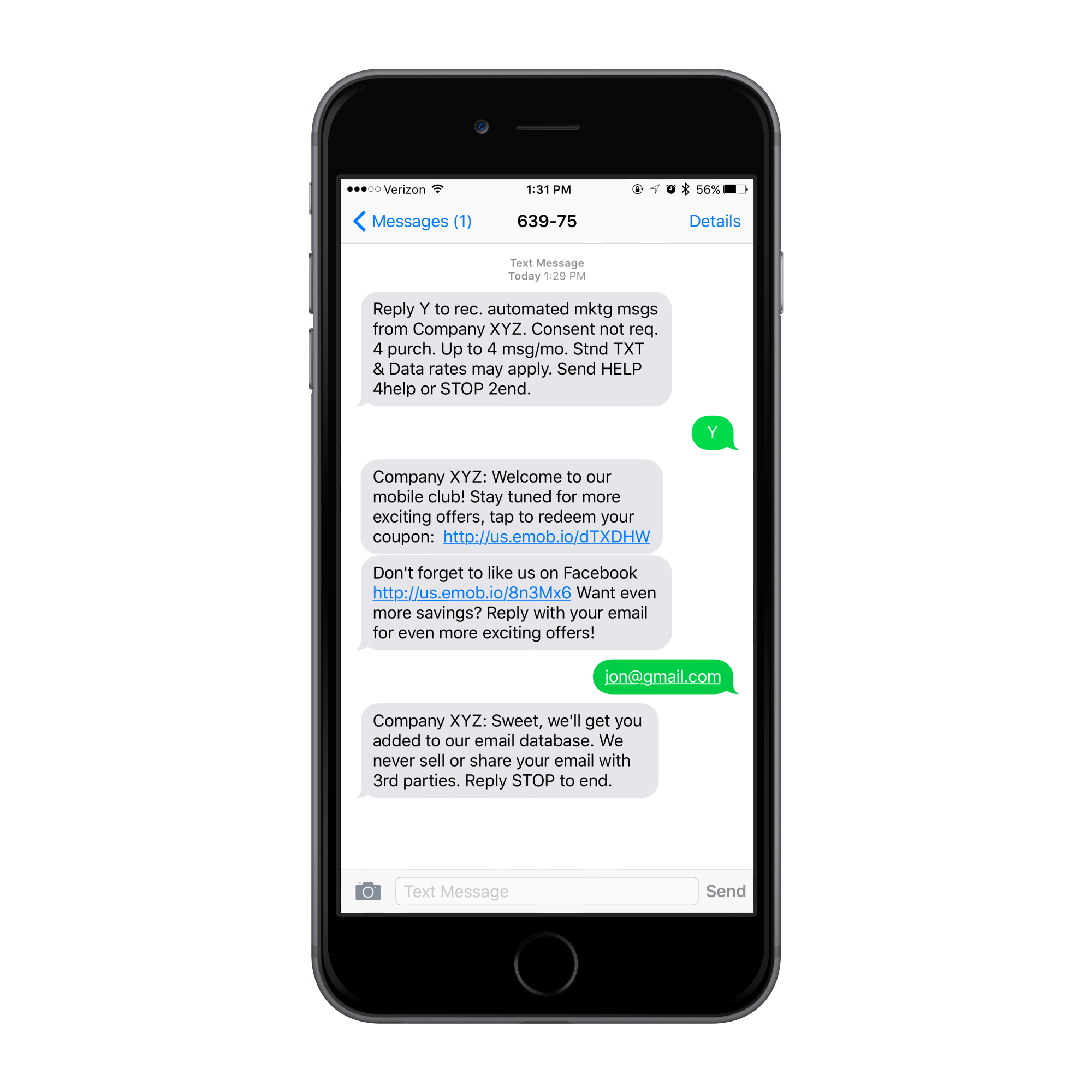 a black iphone showing an keyword opt in and series of SMS replies sent from avidmobile's white label text service.