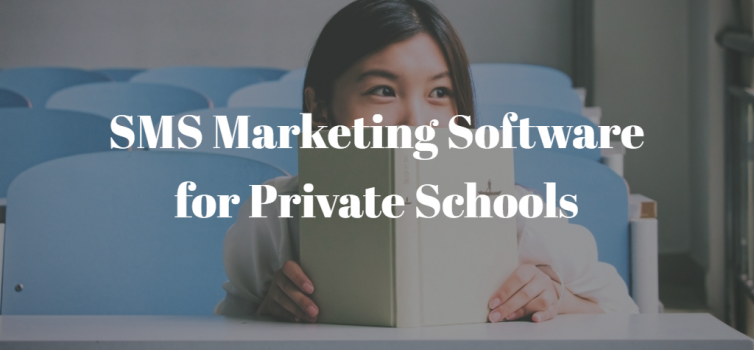 girl with a text book and title SMS Marketing Software for Private Schools in white letters