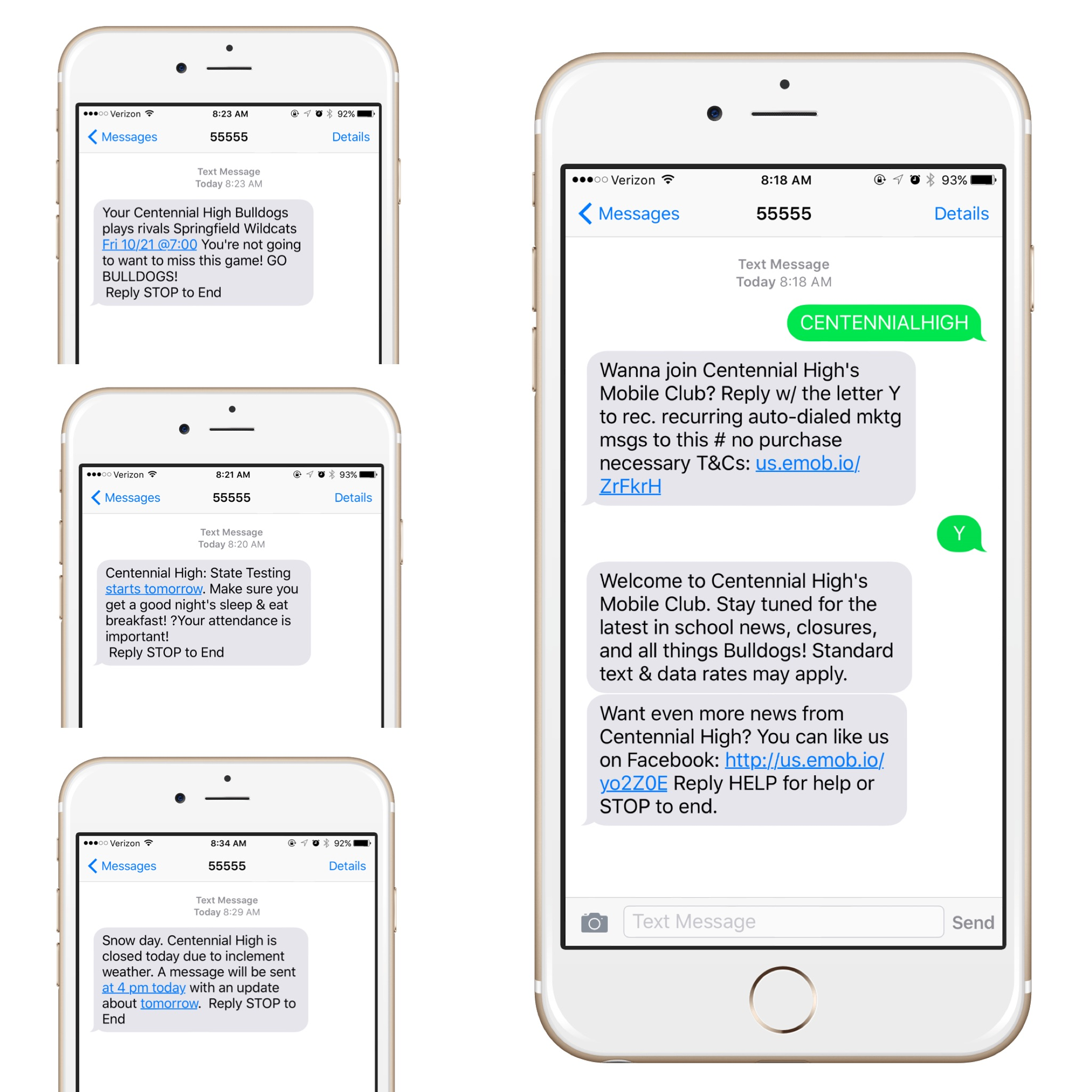 4 screen shots of iphones showing 4 different marketing text messages sent from SMS marketing software