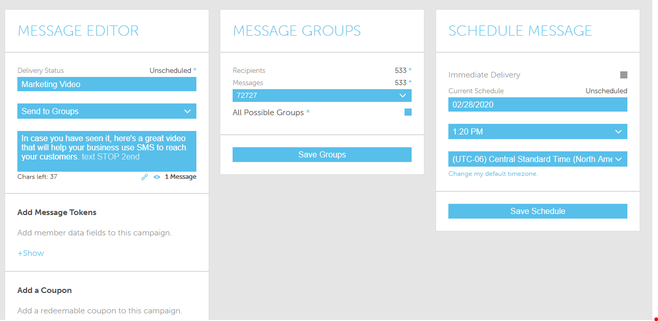 Screenshot of SMS Campaign from AvidMobile SMS Marketing Application