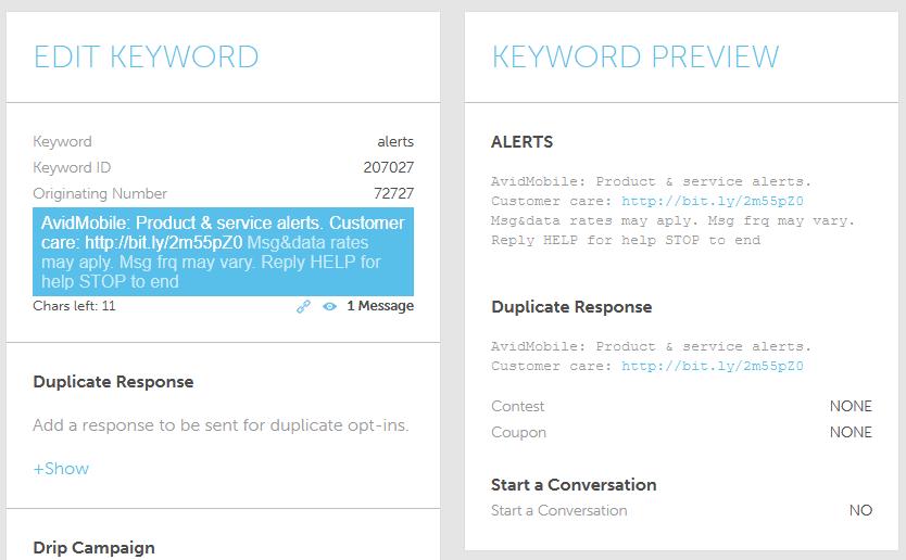 Keyword creation inside of an SMS Application
