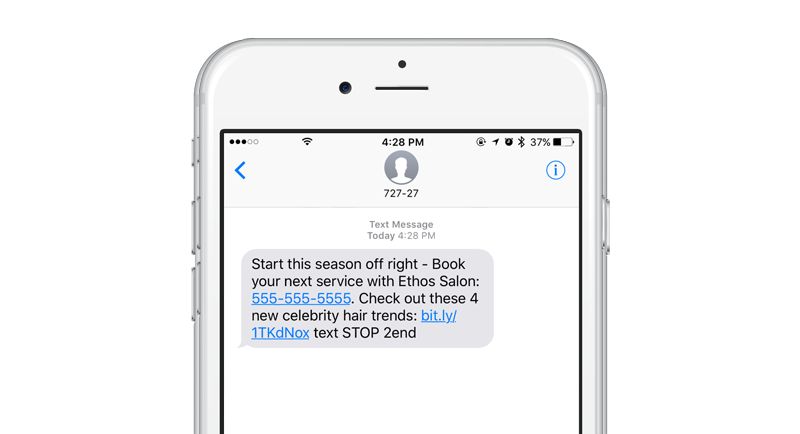 Receiving a text message on an iPhone 6s with a link to a Mobile Coupon