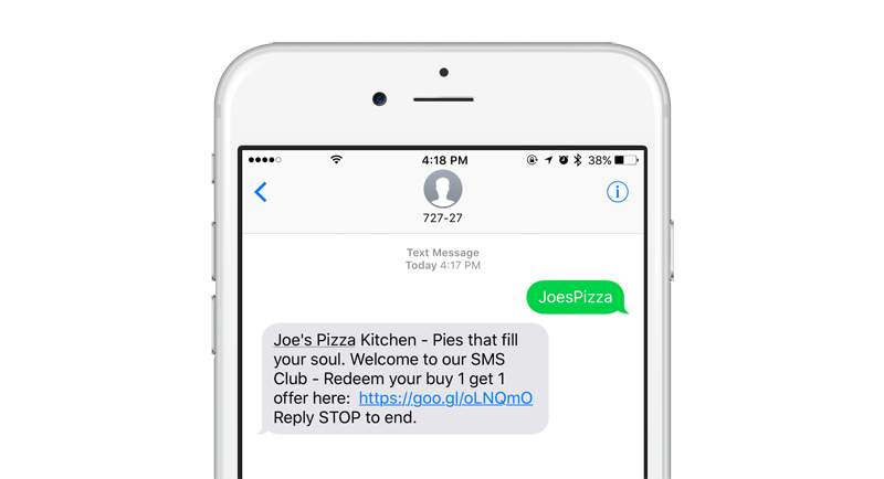 Sending a Keyword and Receiving a text message on an iPhone 6s with a link to a Mobile Coupon