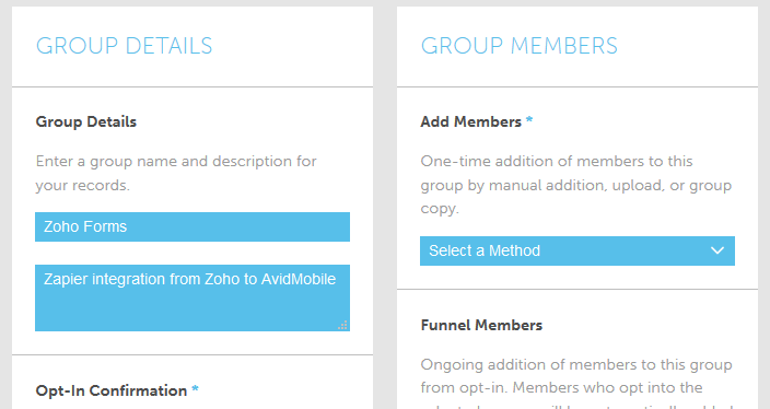 Screenshot of Groups in the AvidMobile SaaS Mobile Marketing Application