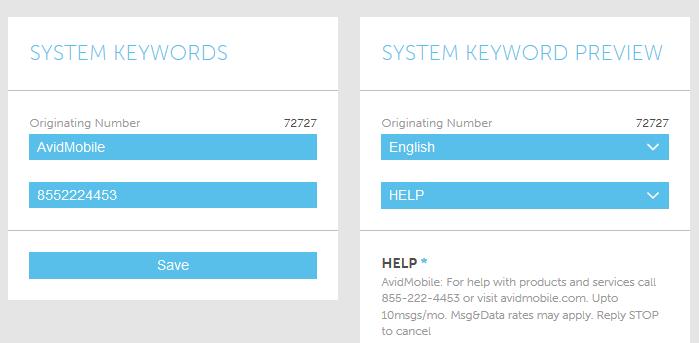 Screenshot of System Keywords in the AvidMobile SaaS Mobile Marketing Application
