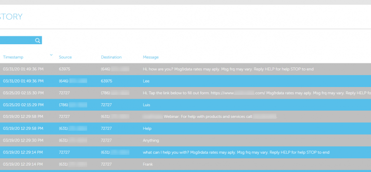 Screenshot of the message history reporting for AvidMobile