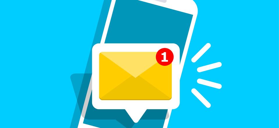 phone receiving a text message alert