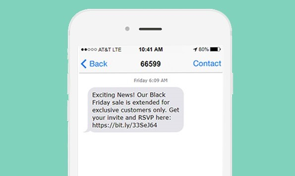 marketing message being received on a phone